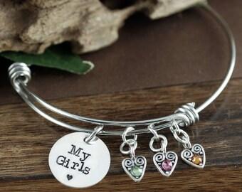 Love my Girls Birthstone Bracelet, Mother of Girls, Mother's Birthstone Bangle Bracelet , Mother's Day Gift, Mom of Boys, Love My Kids
