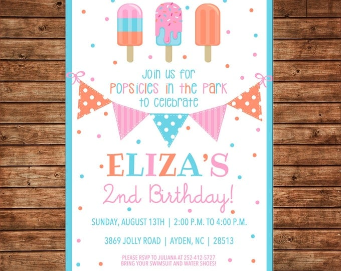 Girl Popsicle Popsicles Ice Cream Bunting Banner Birthday Party Invitation - DIGITAL FILE