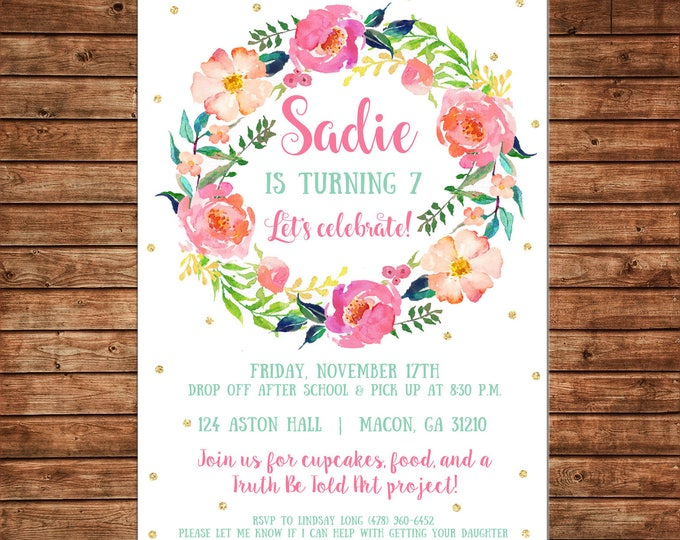 Girl Invitation Watercolor Floral Wreath Gold Shower Birthday Party - Can personalize colors /wording - Printable File or Printed Cards