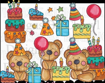 Birthday Wish Bears Clipart Collection - Immediate Download