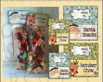 Christmas Snack Bag Toppers in two sizes - Digital Printable - Immediate Download