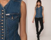 GUESS Jeans Shirt Denim Vest Top 90s Blue Sleeveless Jean Top 1990s Grunge Vintage Hipster Button Up Small