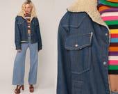 Denim Sherpa Jacket Denim Jacket Shearling 70s Jean Oversized DISTRESSED Trucker Biker Coat Blue 1970s Vintage Fleece Snap Up Medium Large