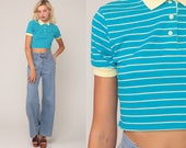 Polo Crop Top Striped Shirt 80s Shirt 1980s Blue Top Short Sleeve Shirt Hipster Retro Tee Vintage Extra Small xs