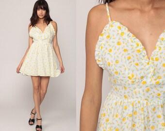 Floral Babydoll Dress 90s Mini Sun Dress Summer Empire Waist Sundress Bohemian Spaghetti Strap 1990s Vintage Boho Yellow White Small