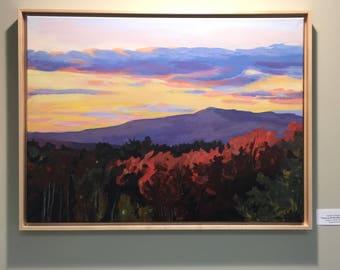 Sunset on Mount Monadnock, NH, Framed Original Painting, Acrylic on Canvas 18x24