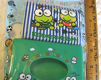 Keroppi Vintage On Sale Tissue Box and Pack Original Wrapper Made in Japan 1990 Sanrio Adorable Kawaii Collectible See Full Details Please