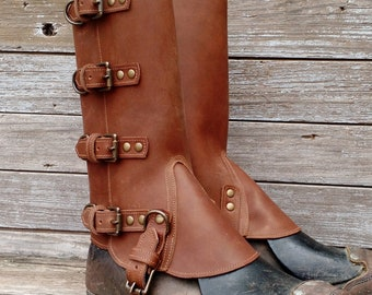 Taller Swiss Military Style Gaiters or Spats in Brown Leather w Antiqued Brass Hardware