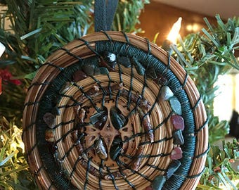 Coiled Pine Needle Ornament with Walnut Slice