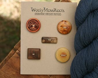 5 Mixed Wood Buttons- Mixed Woods- Wooden Buttons- Eco Craft Supplies, Eco Knitting Supplies, Eco Sewing Supplies