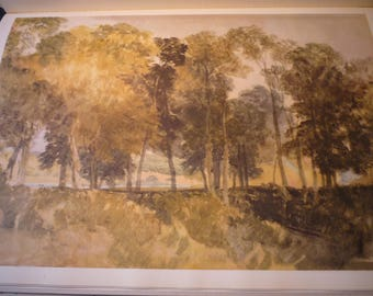 Trees Near Richmond by J M W Turner, English water color 1949 - print for art lovers English countryside framable 11 by 14 in mat frame