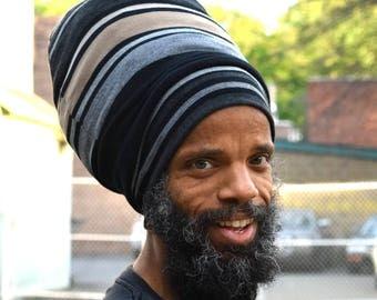 Men- Stripe Stretch Hat - Locs Hat - Rasta Hat - 5 Length Options