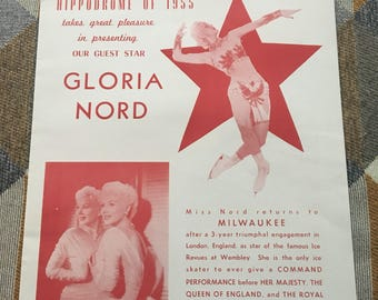 Vintage Hippodrome of 1955 Poster for Gloria Nord Milwaukee
