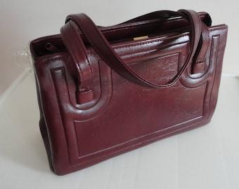 70s Roomy Burgundy Leather Like Purse JR