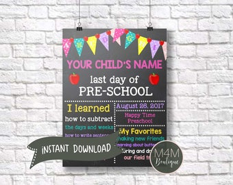 INSTANT DOWNLOAD • Back to School Sign • First Day, Last Day, Digital Template, Print at Home, Editable Jpg Psd Image Files