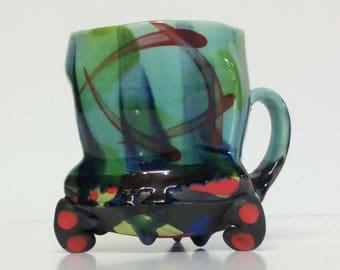 wild colors glaze drippin mug with funky feet