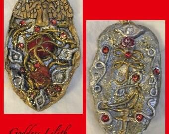 LILITH/GODDESS LILITH/Pendant/Pendulum/Mystical/Altar Set/Shadowbox/Organic Leaf/Spellboundgems(tm)/Energy work/Pagan/Crescent Moon/Script
