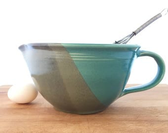 Handled Mixing Bowl with pouring spout-- blue gray hand thrown ceramic stoneware pottery -- ceramic mixing bowl handled mixing bowl