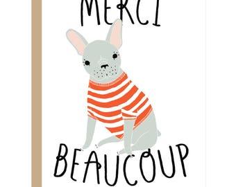Merci Beaucoup Card, Thank You Card, Thanks Card, Thanks Dog Card, French Dog Card