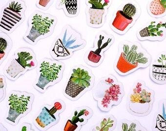 45 pcs/pack Pot Cultured Green Plants Label Stickers DIY Diary Album Stick Label. Cactus Succulent Nopal Tuna