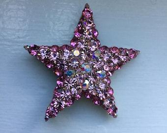 Vintage AB Aurora Borealis Pink Rhinestone Star Pin