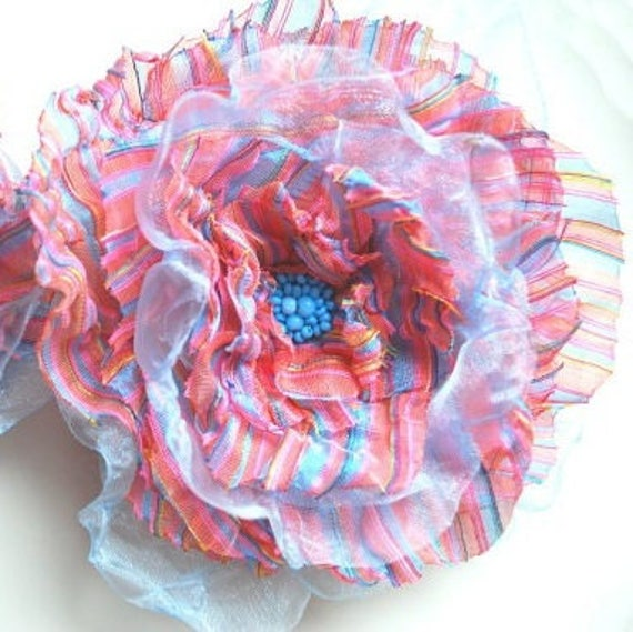 SALE, CIJ, Coral Blue Striped Poppy Bridal Hair Flower Clip, Hair Weddings Accessories, Bridesmaids Brooch Comb Bobby Pin, Flowers for Sash
