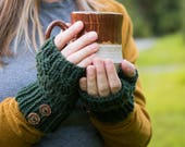 Knitted Fingerless Mittens, Textured Wool Winter Gloves, Cuffed with Buttons