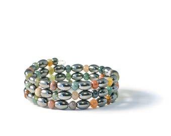 Black High Power Magnetic Hematite and Fancy Jasper Wrap Bracelet