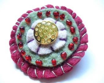 Christmas Brooch Handmade felt and button handstitched one of a kind gift her