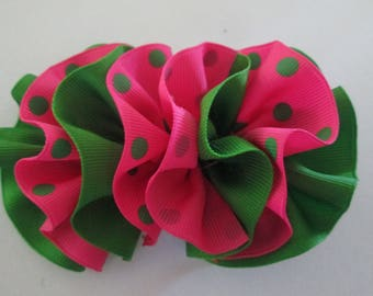 SALE Wavy Hair Bow, Hot Pink and Apple Green  Hair bow, pink and Green Hair Bow, Pink Boutique Hair Bow, Green and Pink  Ruffle Wavy Hair