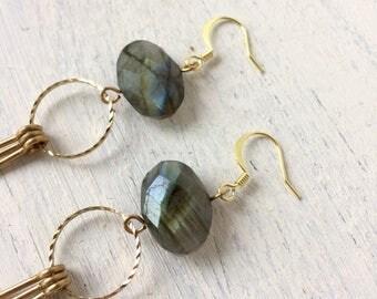 Faceted labradorite fringe earrings
