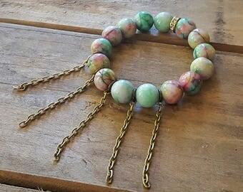 Greens Pinks Swirls Chains