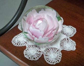 Vintage Collectible Small Pink Glass Paperweight