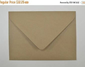 25% Off Summer Sale Recycled Brown Kraft Euro Flap Envelopes A7 - 5 1/4 x 7 1/4 Inches - Set of 100