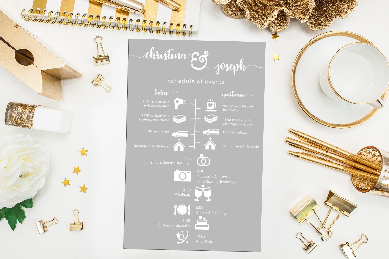 Printable Bridesmaids and Groomsmen Wedding Timeline. Custom ...