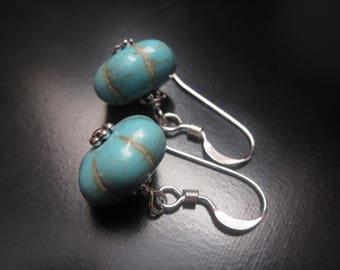 Turquoise Pumpkin Earrings, Turquoise Magnesite Pumpkin Beads, Antique Silver Heishi, Sterling Silver Earrings, Turquoise Silver Jewelry