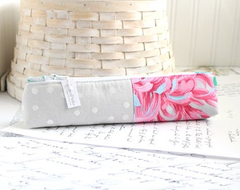 Pencil Case Pink and Gray Skinny Pencil Pouch Students Back to School Organizer