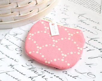 Coin Purse Change Purse Pink and Cream Cute Floral Zippy Pouch