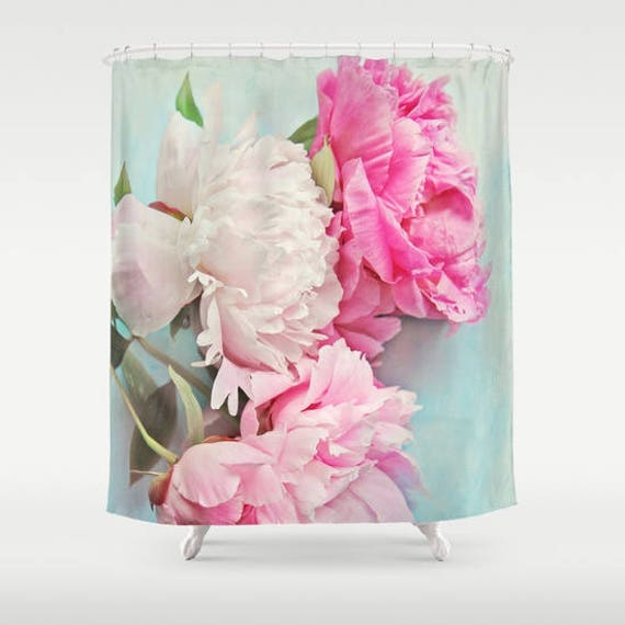 3 Pink Peonies Shower Curtain aqua, pink, bathroom,home decor,pastel flowers,Peony,nature,floral shower curtain,shabby chic
