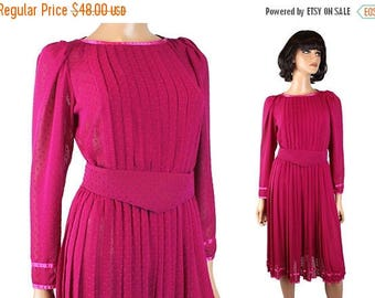 ON SALE 80s Secretary Dress Sz S Vintage Sheer Fuchsia Dark Pink Chiffon Crepe Swiss Dot Free Us Shipping