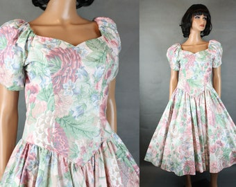 80s Prom Dress S M Vintage Polished Cotton Pink White Floral Party Gown Bianchi Free US Shipping