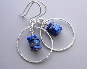 Lapis Lazuli Earrings, Sterling Silver Hoop Earrings for Women, Lapis Lazuli Jewelry, Blue Stone Earrings, Royal Blue Earrings, 925 Jewelry
