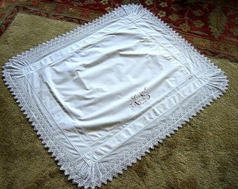 Pillow Case SHAM Bed Runner Vintage Antique WHITE Fine Lace Monogrammed Red