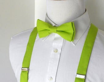 SALE Lime Bowtie and Suspenders - Men, Teen, Youth                                  2 weeks before shipping