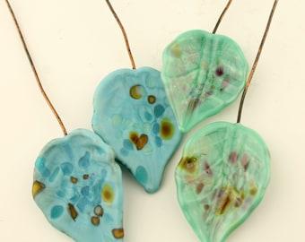 Lampwork Headpins, Glass Leaf Head Pins,  Headpin on 20Ga Antique Copper Wire, Green, Blue, Aqua, Turquoise