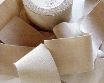 Vintage 1930's-1940's French Grosgrain Ribbon 2 inch Suede Beige