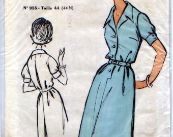 """Vintage """"clutch"""" pattern, dress, 60s """"Marie-Claire Elégance de Paris""""."""