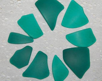 Teal Faux Sea Glass recycled glass (9 pieces)