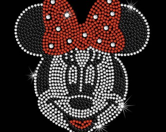 """SALE 6.8"""" tall Red or Pink Minnie Mouse FACE iron on rhinestone transfer applique patch decal"""
