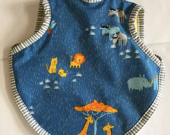 Bib, bapron, baby bibs, boy bib, girl bib, baby boy, baby girl, safari bib, tie bib, terry bib, reversible bib, boy bibs, 6-18 months, bibs